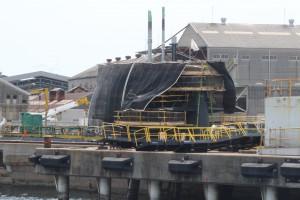 三菱重工ドック外の潜水艦